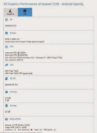 Huawei Z100 muncul di situs patokan Gfxbench, apakah ini Ascend Mate 3?