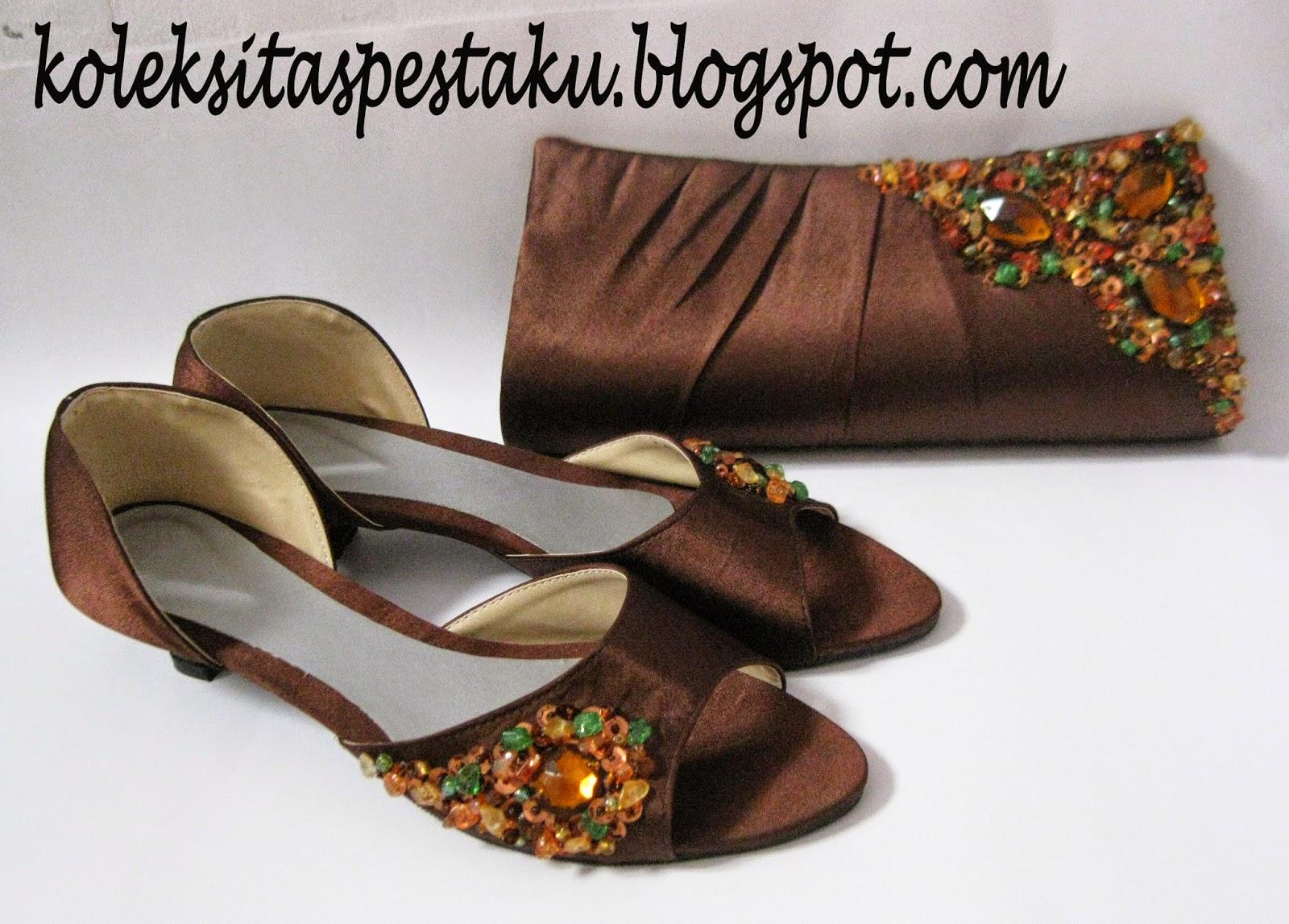 Sepatu Coklat dan Tas Pesta Mewah Netral Harga Murah
