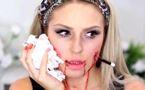 maquillaje de halloween con latex liquido