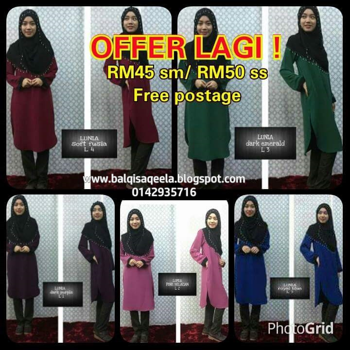 BLOUSE  MUSLIMAHLUNIA  RM45 SM/RM 50 SS-FREE POS-SOLD OUT!!