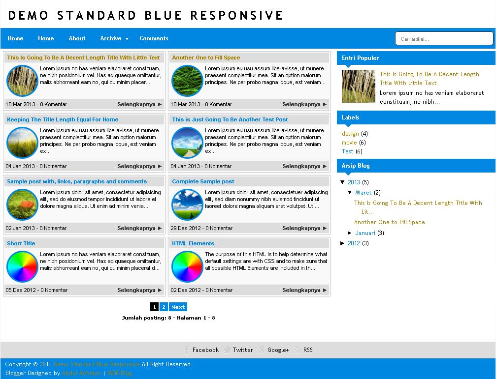 Standard Blue Responsive Blogger Template