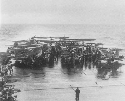 WW2 Battle of Atlantic Hunt for Bismarck - HMS Victorius Swordfish. The flight deck of HMS Victorious on 24 May 1941.