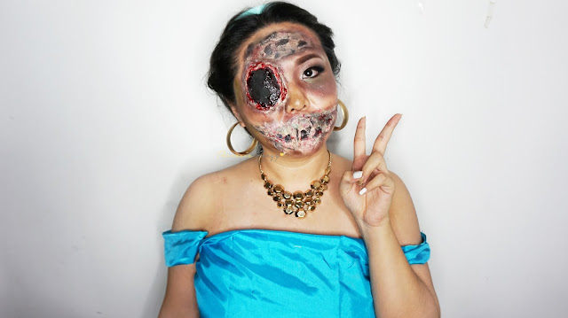 How to look like a zombie princess jasmine for halloween. Special Effect makeup with some face painting for you who loves the scary, gory and bloody makeup for Halloween. Come and Join my Makeup and Hairdo Course to learn the technique with Theresia Feegy in Jakarta. Available for Personal Makeup Course, Advance Intense Pro Makeup Course, One Day Wedding Makeup Course and Basic Hairdo Course. For pricing and inquiries, kindly email to muses.wonderland@yahoo.com
