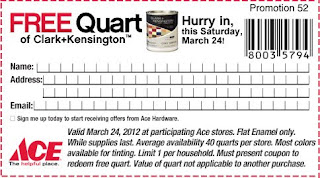 Free Quart of Clark+Kensington Paint at Ace Hardware on 03/24/12