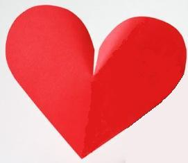 bagian belahan bentuk hati, guntinglah secara tegak