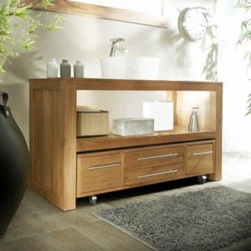 Meuble salle de bain en bois pas cher meuble d coration for Meuble rangement salle de bain bois
