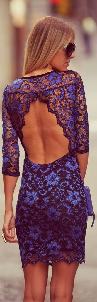 Indigo dress with open back in mini skirt