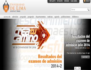 Resultados Examen Universidad de Lima 2014 2, 6 de Julio