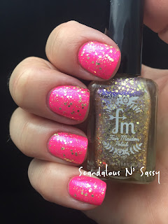 Fair Maiden Tickle Me Pink with Always Look for the Rainbow topper neon glitter holo