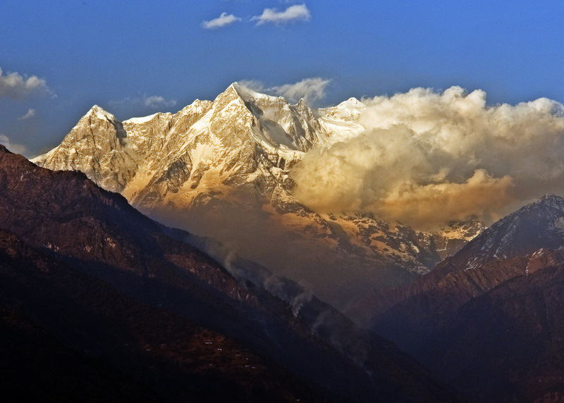 Mount Choekhamba view from Ukhimath in the morning