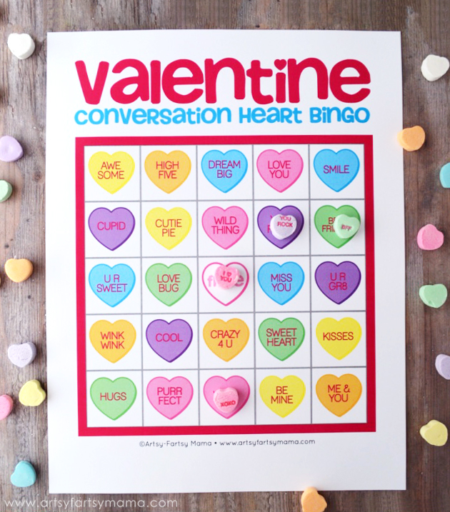 Dashing image inside printable valentine bingo