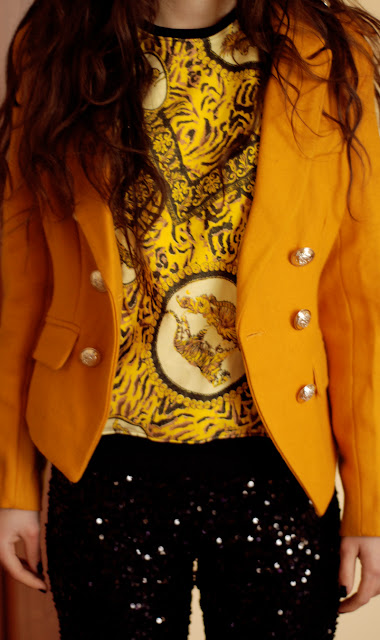 yellow, blouse, versace, h&m, żółta, bluza, lwy, tygrysy