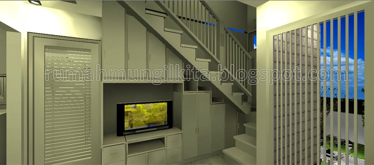 Rak TV minimalis putih bawah tangga