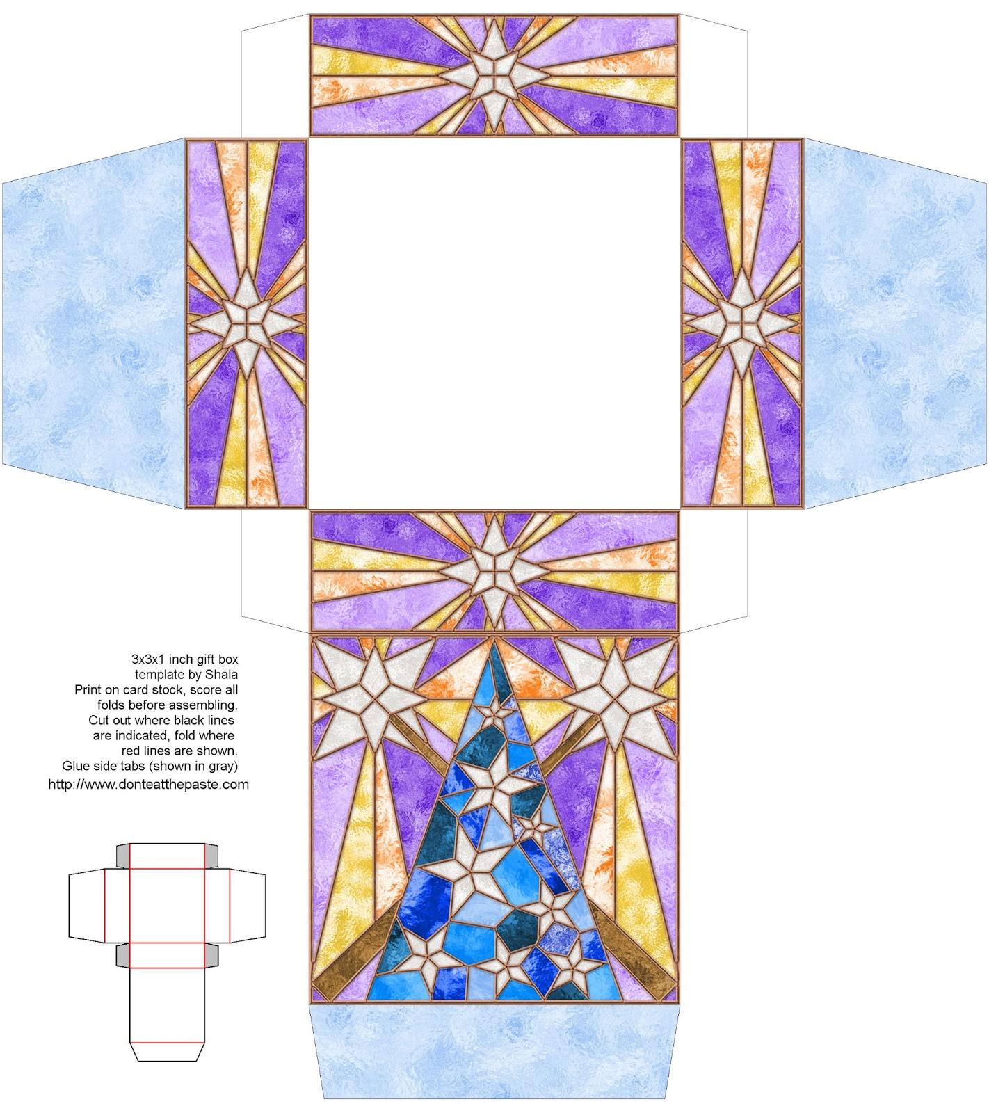 Printable stained glass effect gift box
