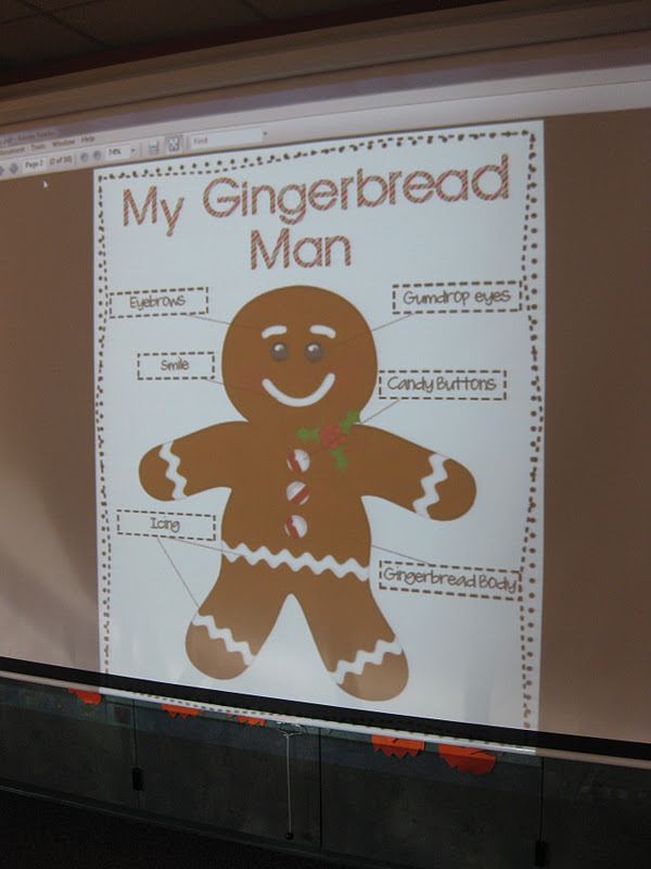 gingerbread man onto the screen and we discussed what a gingerbread ...
