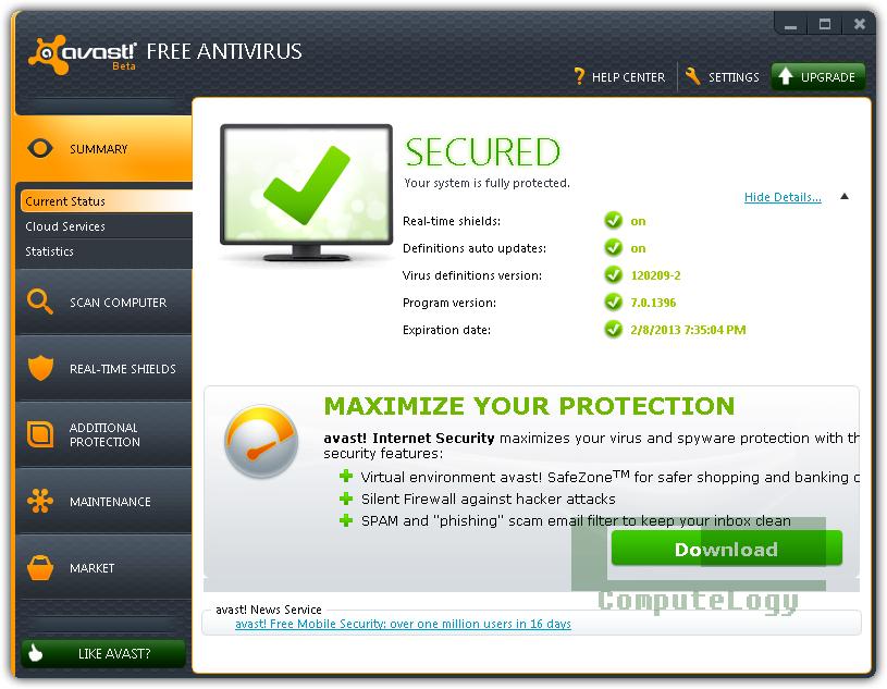 avast antivirus free  2013 full version with key for windows 7