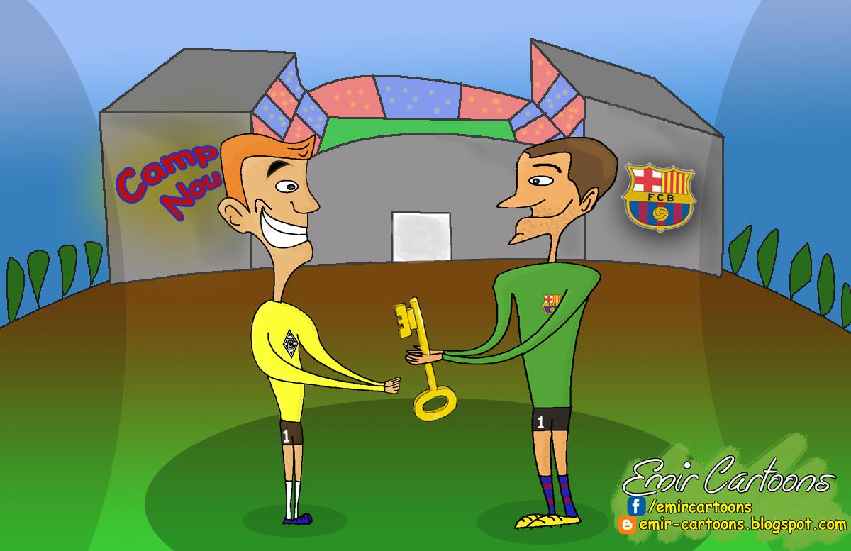Victor Valdes , Ter Stegen, novi golman,barcelona,karikature,emir balkan cartoons,fudbal,