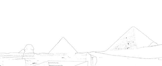 drawing of the three pyramids of Giza