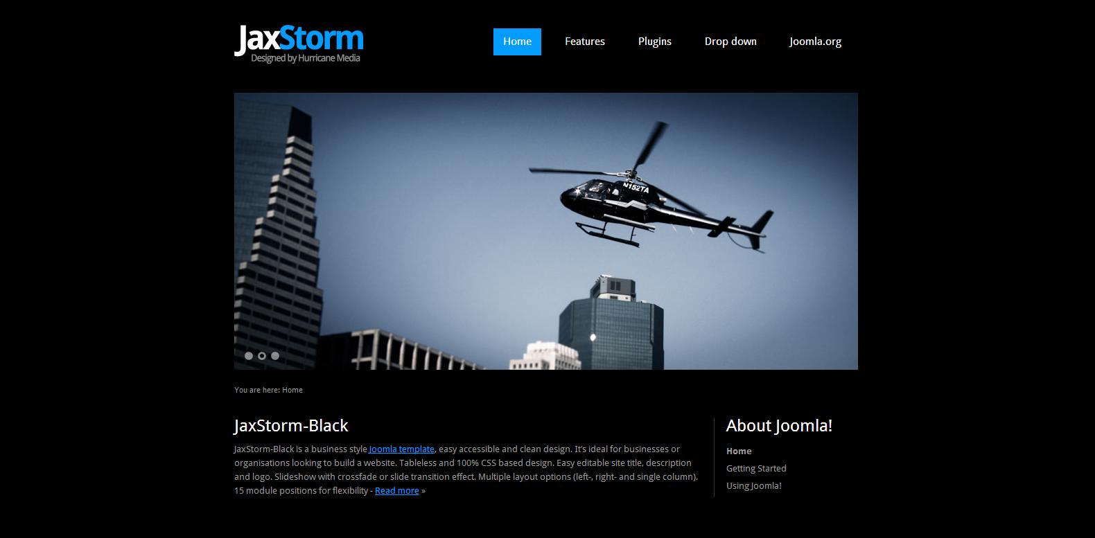JaxStorm Black Free Joomla Template