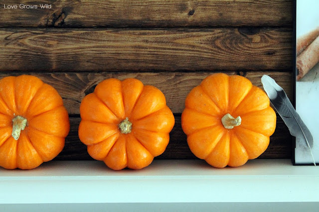 A kitchen beautifully decorated for Fall with sheet music garlands, mini pallet art, and more!