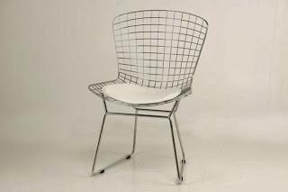 Silla Reja Metalica Con Cojin Blanco, silla acero, silla metalica