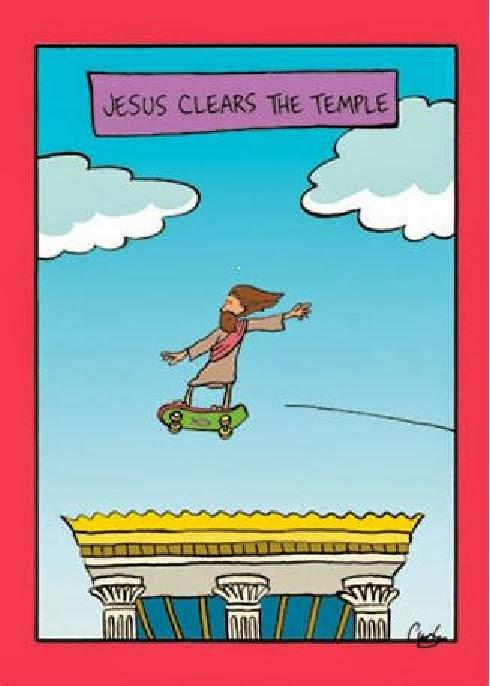 image: Jesus on a skateboard