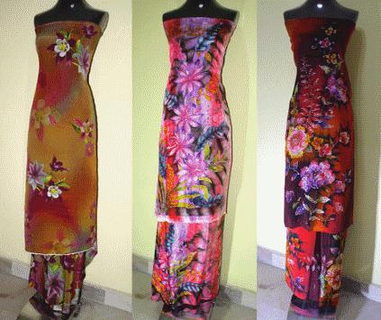 Desain batik tidak klasik pada kain sutra untuk gaun