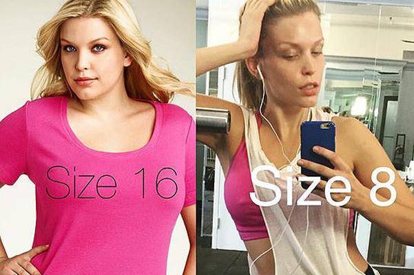 Popular plus-size model Leah Kelley lost four sizes