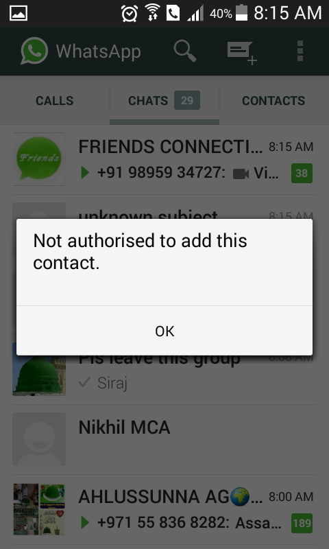 Not authorised to add this contact