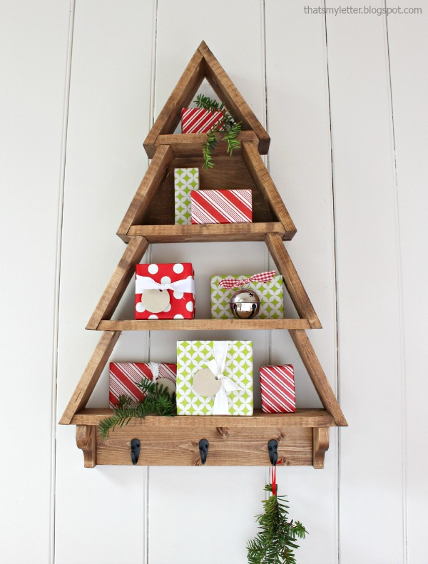 diy wall shelf tree shape