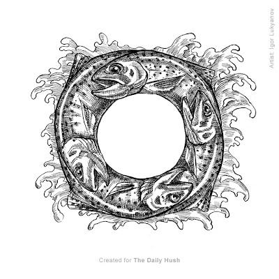 dessin truite, poissons pas colorés