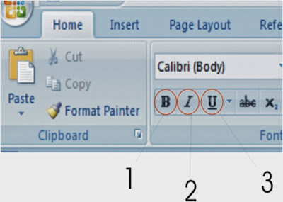 Membuat huruf Tebal, miring dan bergaris bawah dalam Microsoft Word