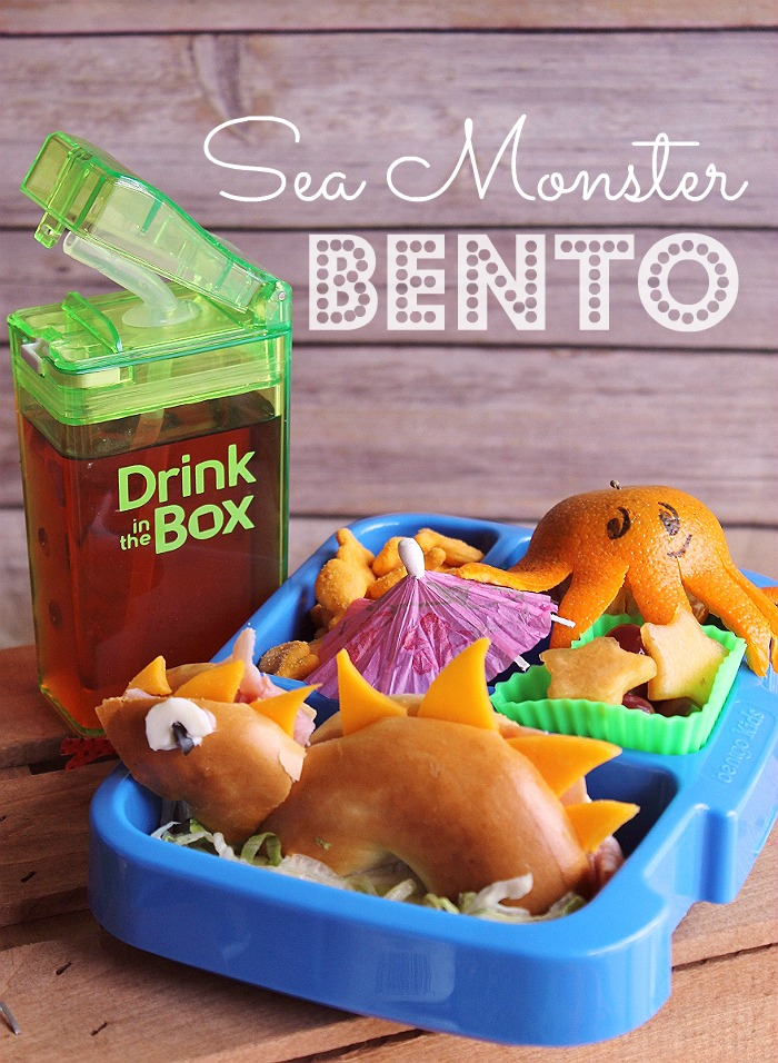 Sea Monster Bento- 3 Simple Bento Ideas To Put A Smile On Your Child's Face with Drink In The Box by Eastman Tritan™ (ad)