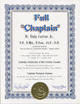 Full Chaplain Certificate.