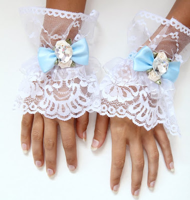 Alice in Wonderland Tea Party Lace Cuffs by Mademoiselle Mermaid