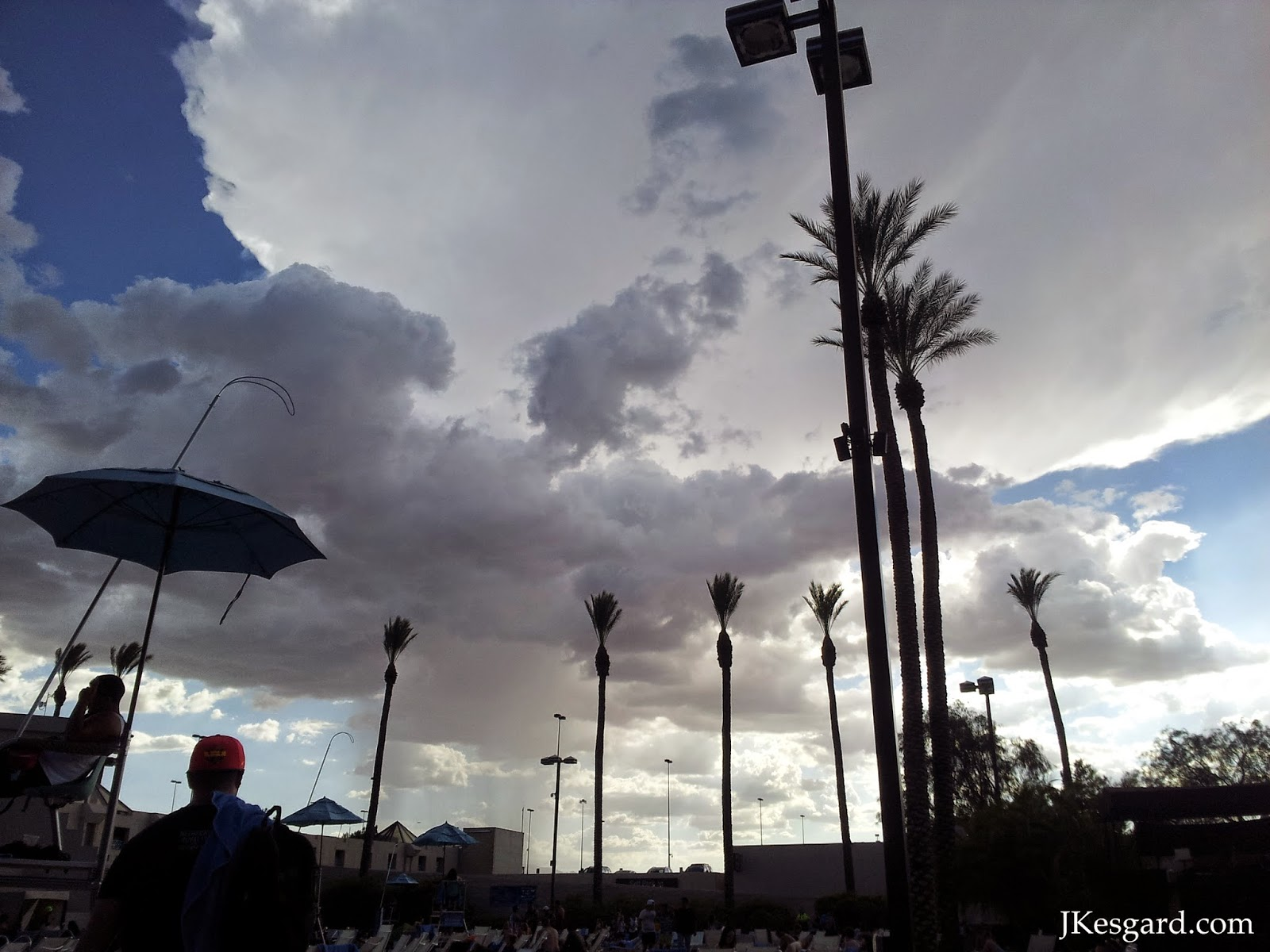 Luxor Pool in Las Vegas, clouds, trees