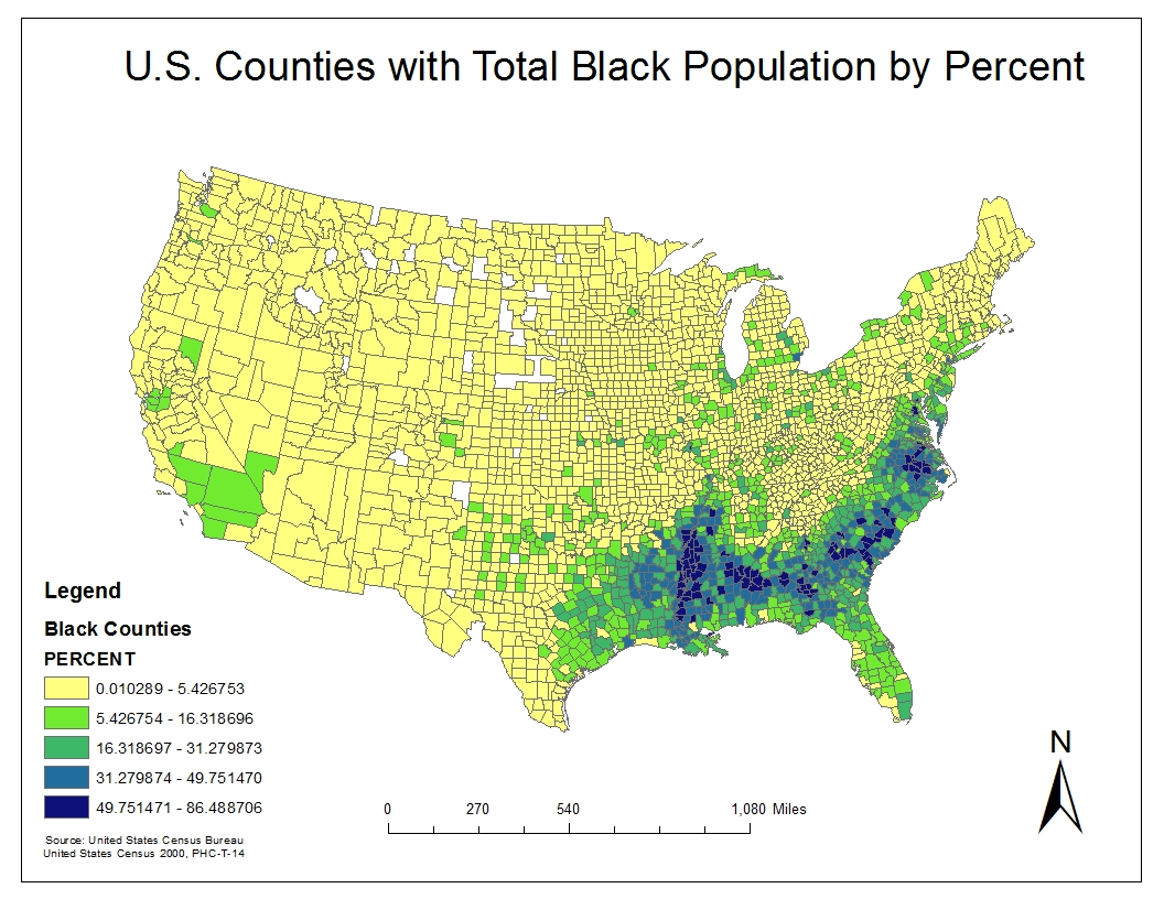 the first map i created was the total black population density by percent in the u s in this map it is apparent that the most dense area of the total