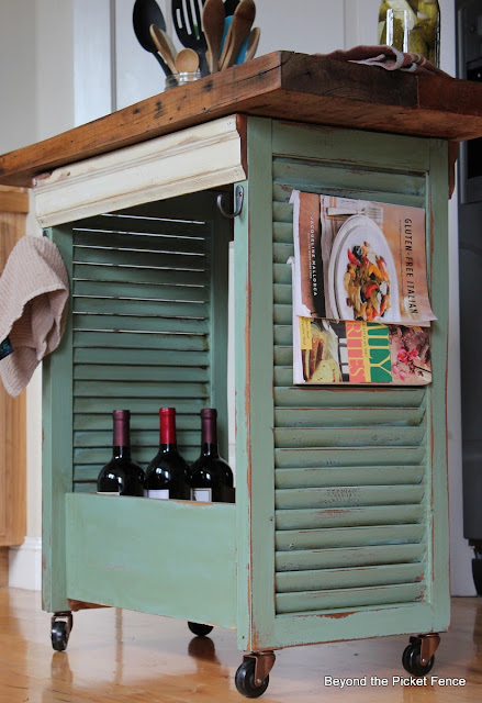 repurposed shutters, paint, kitchen island, old drawer, Beyond The Picket Fence,http://bec4-beyondthepicketfence.blogspot.com/2013/08/shutter-island.html
