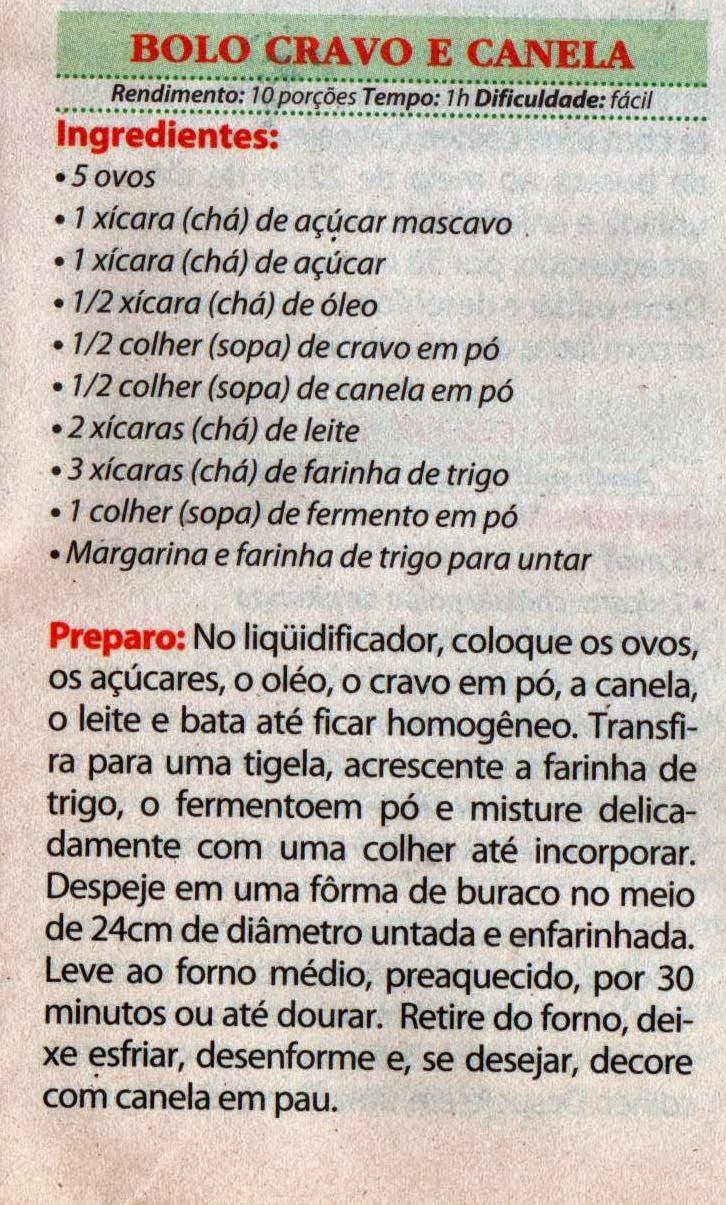 RECEITA DE BOLO DE CRAVO E CANELA DE LIQUIDIFICADOR