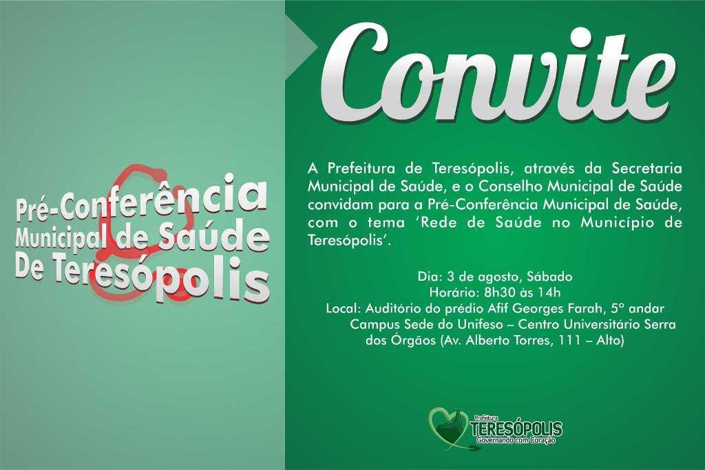 Pré-Conferência de Saúde em Teresópolis acontece neste sábado, dia 3