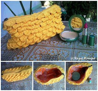 Crochet Cluth, Crocodile Stitch, free crochet clutch crocodile stitch pattern, pola gratis, pola tas, pola rajut clutch