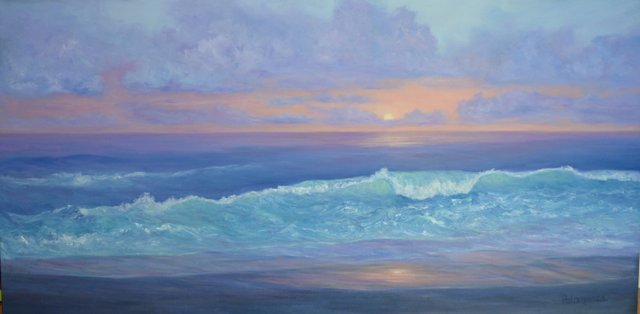 A beautiful sunset beach painting of ocean waves