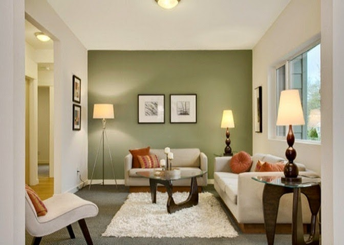 What Color To Paint Living Room Endearing With Living Room with Green Accent Wall Photos