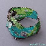 Купить браслет из бисера, фриформ, зеленый, украина, анабель,freeform peyote bracelet