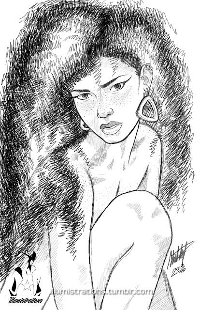 artistic nude african american black woman sketch