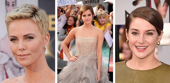 Cabelo Pixie Feminino - Charlize Theron and Emma Watson e Shailene Woodley