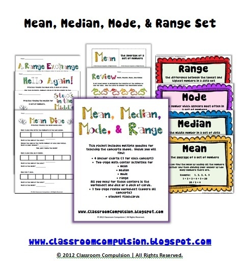 Classroom Compulsion: Mean, Median, Mode, and Range Pack with Freebie