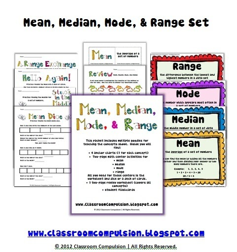 classroom compulsion median mode and range pack with freebie