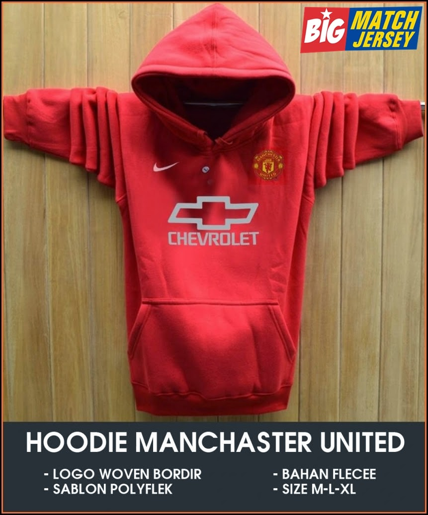New Hoodie Bola Satu Warna 2014 - 2015 Manchester United Chevrolet Red