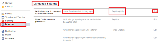 Change Facebook Language in Smartphone and Web